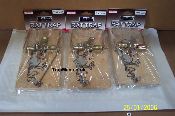 pack of three wooden rat traps